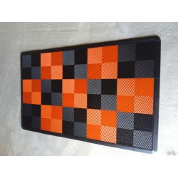 Tapis de sol dalles drapeau à damier noir et orange 2m12 x 1m32