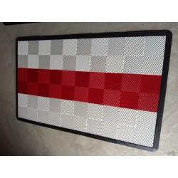 Tapis de sol dalles blanc bande rouge 2m12 x 1m32