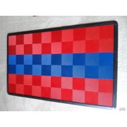 Tapis de sol dalles rouge bande bleue 2m12 x 1m32