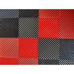 Tapis de sol dalles drapeau à damier noir et rouge 2m12 x 1m32