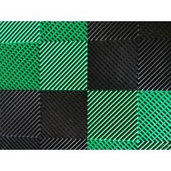 Tapis de sol dalles drapeau à damier noir et vert 2m12 x 1m32