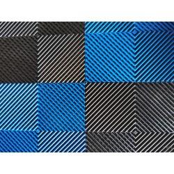 Tapis de sol dalles drapeau à damier noir et bleu 2m12 x 1m32