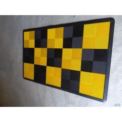 Tapis de sol dalles drapeau à damier noir et jaune 2m12 x 1m32