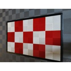 Tapis de sol dalles drapeau à damier rouge et blanc 2m12 x 1m32