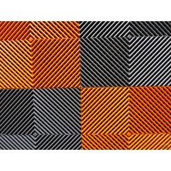 Tapis de sol dalles drapeau à damier gris anthracite et orange 2m12 x 1m32