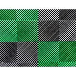 Tapis de sol dalles drapeau à damier gris anthracite et vert 2m12 x 1m32