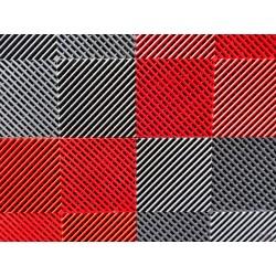 Tapis de sol dalles drapeau à damier gris anthracite et rouge 2m12 x 1m32