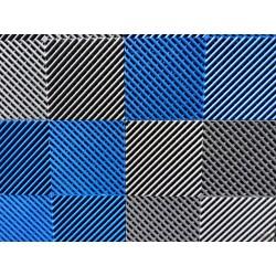 Tapis de sol dalles drapeau à damier gris anthracite et bleu 2m12 x 1m32
