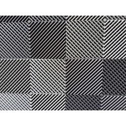 Tapis de sol dalles drapeau à damier gris anthracite et gris clair 2m12 x 1m32