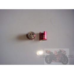 Bouchons de valve anodisés rouge smiley